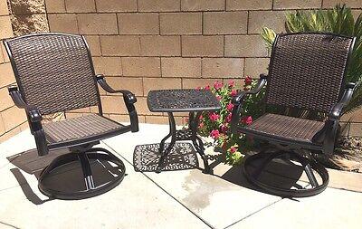 Outdoor bistro set 3 piece patio cast aluminum swivel rocker chairs end table. ()