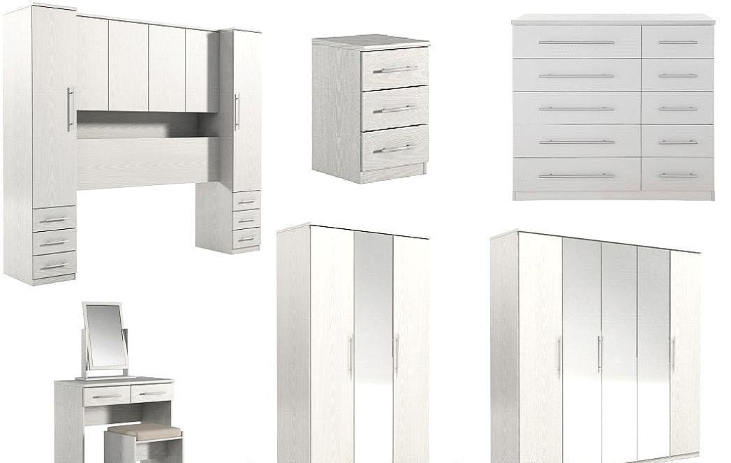 Prague Sliding Wardrobe Ash White Overbed Unit Chest Of Drawer Bedroom  Furniture