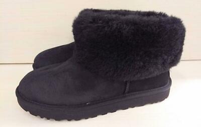 UGG Women's Classic Mini Fluff Ankle Boot, Black, 9 M US