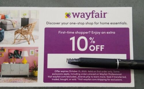 WAYFAIR.COM COUPON Emailed Right Away 10 Off First Order, Expires 10/31/20 - $4.99