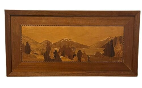 """Handcrafted Wooden Inlaid Scenic Mountain Landscape Vtg Wall Art 23 5/8"""" Browns"""