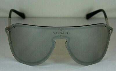 NEW AUTHENTIC VERSACE VE 2180 10006G Silver Mirrored Sunglasses