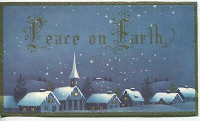 VINTAGE CHRISTMAS BLUE SKY EVE STARS SNOWFLAKES VILLAGE WHITE SNOW GREETING CARD