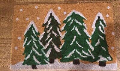 Calloway Mills Christmas Outdoor Doormat Winter Wonderland 24x36 Trees NEW