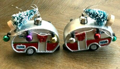 Holiday Christmas Camper RV Motor Home ornament set of 2 New Hand Crafted