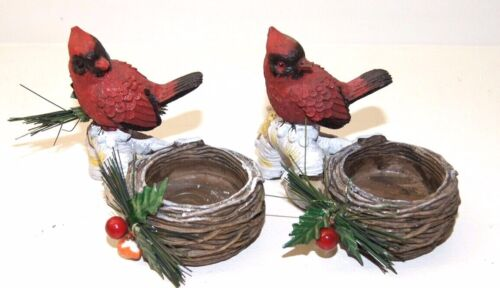 2 Red Cardinal Birds Winter Christmas Tea Light Candle Holders Pine Cones Holly