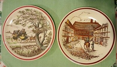 Vernon Kilns Bits of Old England Lot of 2 Plates #1, #7 Near Mint Estate Find