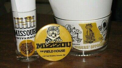 1965 University of Missouri Tigers Football Mascot Opponents Schedule Glass,bowl Tigers Glass Mascot Football