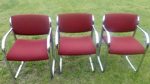 Vintage STEELCASE 474-419 Office Chairs Set of 3 Red Fabric & Chrome Frames