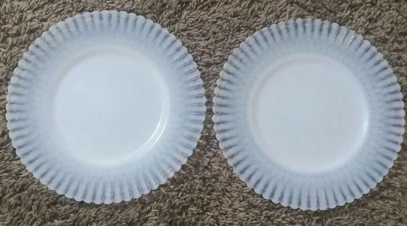 Petalware White Depression Milk Glass 8-in plates set lot of 2 vintage