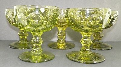 LOT OF 5 PROVINCIAL VERDE GREEN CHAMPAGNE GLASS IMPERIAL FROM HEISEY MOLDS -K10