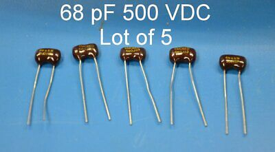 68 Pf 500 Vdc Lot Of 5 Silver Mica Capacitors Free Shipping