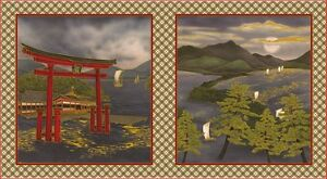 Torii Gate Oriental Asian Japanese Quilt Patchwork Fabric Panel
