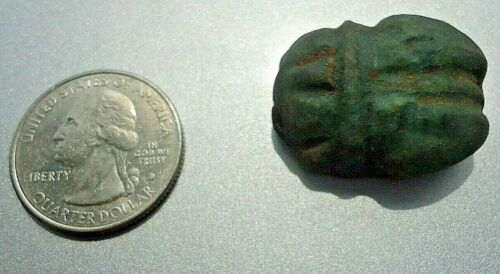 ANCIENT EGYPTIAN Large Real Emerald Stone Scarab Beetle, Eye of RA Hieroglyphs