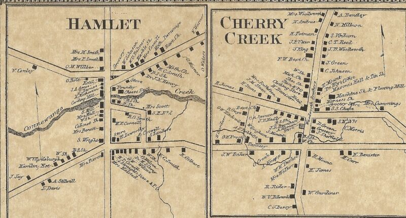 Cherry Creek Hamlet NY 1867 Map with Homeowners Names Shown