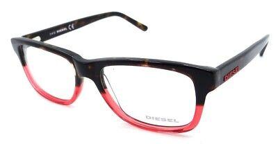 Diesel Rx Eyeglasses Frames DL5001 044 54-17-145 Dark Havana / Transparent Red