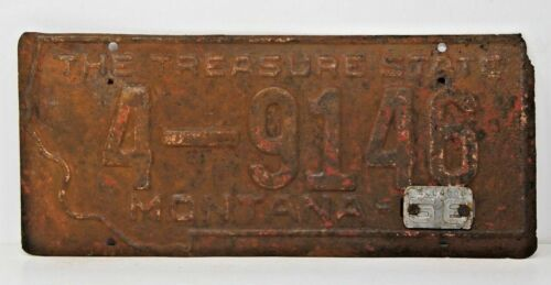 1958 Montana License Plate Antique W Metal Tab 4-9146