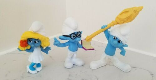 Set of 3 Smurf Figurines Clumsy, Brainy, & Smurfette