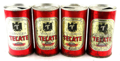 Qty. 4 Tecate Cerveza Steel Beer Can Made in Mexico Top Opened Free Shipping