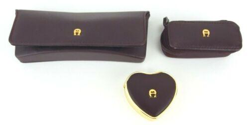 Etienne Aigner Eyeglass Case, Lipstick Case and Pill Box Set Burgundy