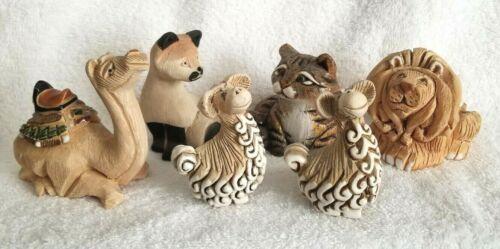 Lot of SIX Artesania Rinconada Vintage Figures CATS LION CAMEL ALPACAS