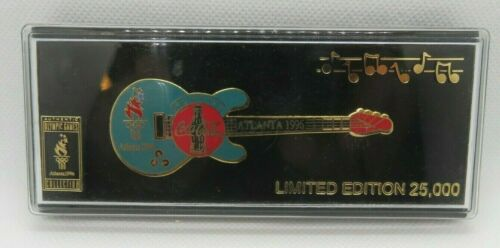 Coca Cola Atlanta 1996 Olympics Limited Edition Guitar Pin In Orig Case
