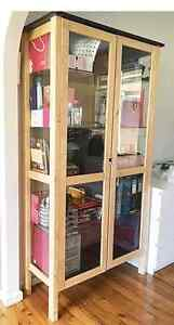 ikea Pine Wood Glass Shelve Door Display Cabinet Bookcase 2 tone North Rocks The Hills District Preview