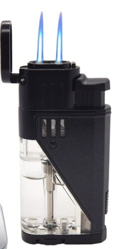 Double Jet Torch Lighter Cigar Windproof Flame Refillable w/Punch Clear Window B