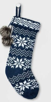 New Fair Isle Christmas Stocking with Faux Fur Pompoms Navy and White 20
