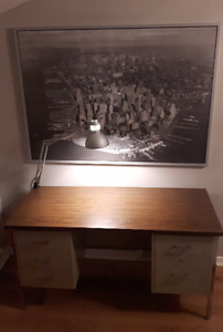 Steel Desk with Lamp
