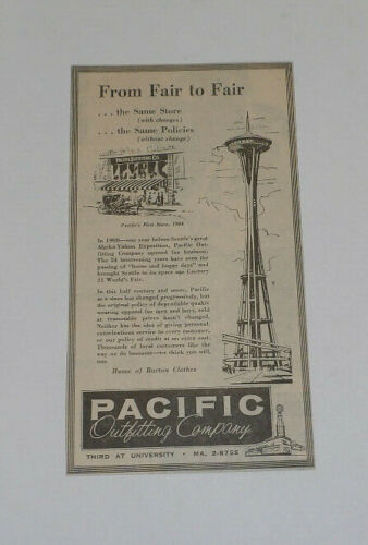 1962 Pacific Outfitting Company, Spaceneedle Original Newspaper Ad