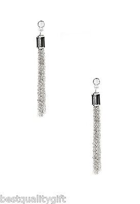 NEW GUESS SILVER TONE AND BLACK CHAIN TASSEL DANGLE FANCY (Dangle Chain Fancy Earrings)