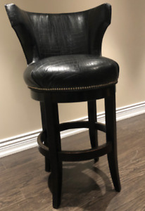 Brown bonded leather Counter Swivel Chair