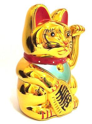 Large Feng Shui Gold Beckoning Cat Wealth Lucky Waving Kitty Maneki Neko 6  Tall