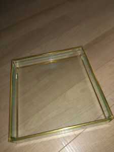 CB2 Crate Barrel Small Gold Copper Brass and Glass Tray NEW