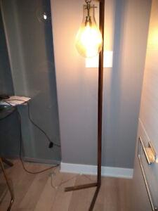 Mid-Century Antique Gold Brass Sabine Task Floor Lamp