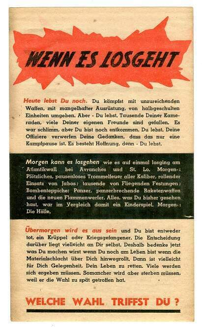 PROPAGANDA LEAFLET, AMERICAN AIRCRAFT TO GERMAN FRONT LINE TROOPS