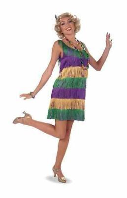 Mardi Gras Frisky Flapper Women's Costume Dress Green Purple Gold Fringe - Mardi Gras Flapper Kostüm