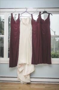 3 Burgundy Bridesmaid Dresses