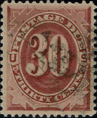 #J27 1891 30 CENT POSTAGE DUE USED--XF--LITE CANCEL