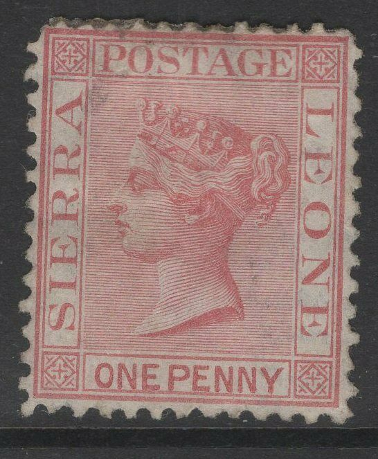 SIERRA LEONE SG11 1872 1d ROSE-RED WMK UPRIGHT UNUSED THINNED