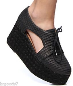 ★ 10 NEW Jeffrey Campbell CLINTON All Black Platform Oxford woven raffia Heel