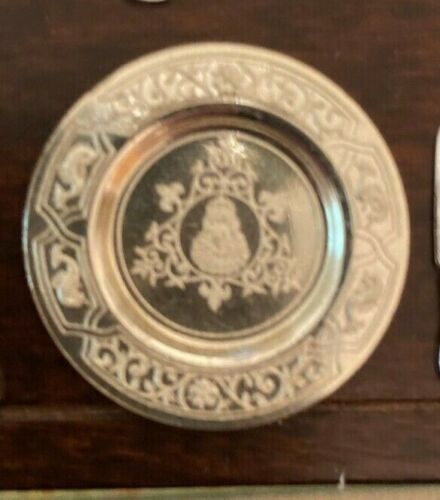 Dollhouse miniature vintage sterling silver Elizabethan Period plate,  1:12