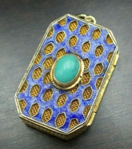 Rare Antique Chinese Export Sterling Silver, Turquoise & Enamel Locket Pendant