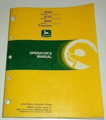 John Deere 8560 8760 8960 Tractor Operators Owners Manual Jd Original 191