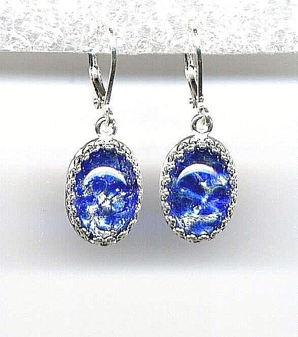 SAPPHIRE SEA BLUE FIRE OPAL Dragons Breath crystal Earrings *STERLING 925 LEVERS