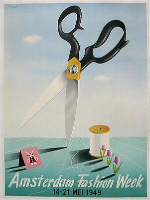 1949 ORIGINAL AMSTERDAM HOLLAND NETHERLANDS FASHION WEEK ADVERTISING POSTER ART