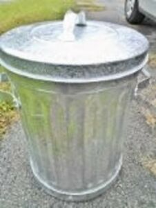 perfect, never used, actual galvanized steel, 1950s garbage cans