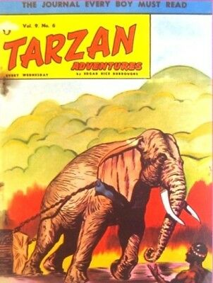 TARZAN ADVENTURES VOL 9 #6 1959 EDGAR RICE BURROUGHS, UK COMIC, ELEPHANT COVER