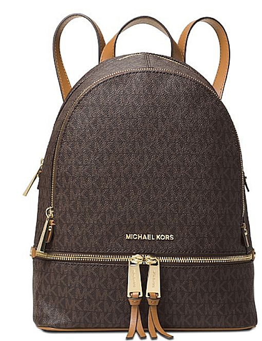 Michael Kors Signature Rhea Zip Medium Brown-Gold Backpack